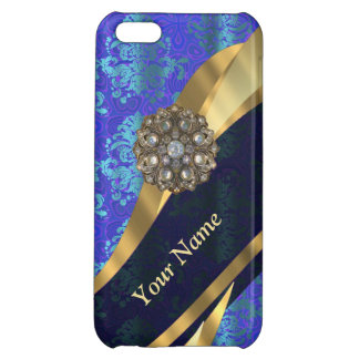 Personalized bright blue damask pattern cover for iPhone 5C