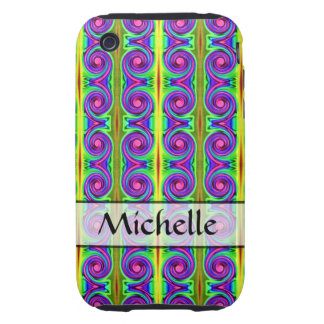 Personalized bright colorful swirl pattern tough iPhone 3 covers
