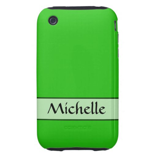 Personalized bright green color tough iPhone 3 covers