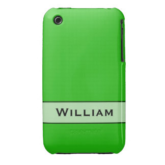 Personalized bright green color iPhone 3 Case-Mate cases