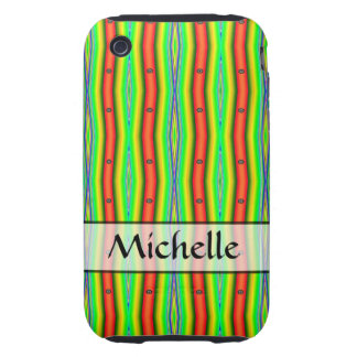 Personalized bright green orange abstract stripes iPhone 3 tough cover