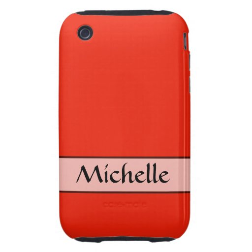 Personalized bright orange red color tough iPhone 3 cover