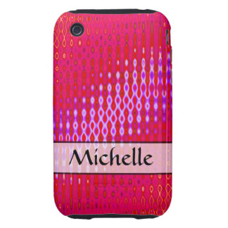 Personalized bright pink pattern tough iPhone 3 cases