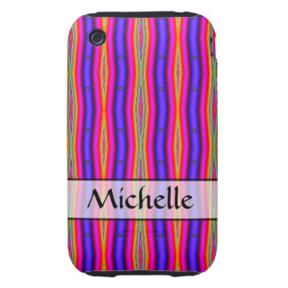 Personalized bright purple yellow pink stripes tough iPhone 3 case