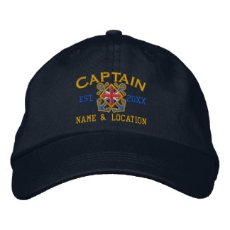 Personalized British Captain Nautical UK Flag Embroidered Hat