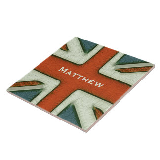 Personalized British Flag Large Square Tile