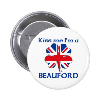 Personalized British Kiss Me I'm Beauford 6 Cm Round Badge
