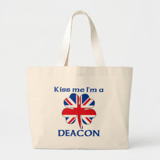 Personalized British Kiss Me I'm Deacon Jumbo Tote Bag