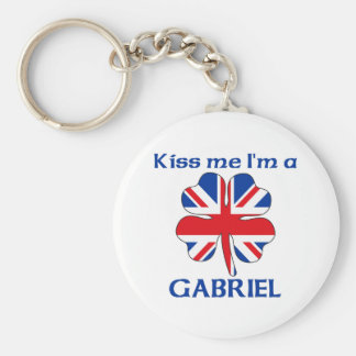 Personalized British Kiss Me I'm Gabriel Basic Round Button Key Ring