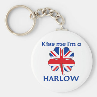 Personalized British Kiss Me I'm Harlow Basic Round Button Key Ring