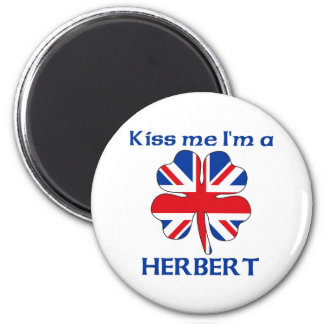 Personalized British Kiss Me I'm Herbert 6 Cm Round Magnet