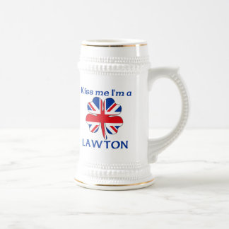 Personalized British Kiss Me I'm Lawton 18 Oz Beer Stein