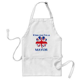 Personalized British Kiss Me I'm Mayor Standard Apron