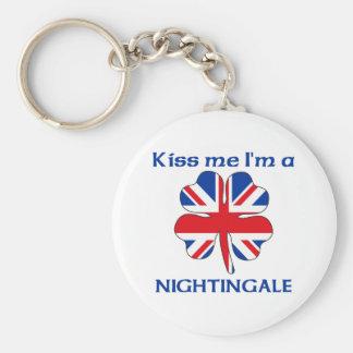 Personalized British Kiss Me I'm Nightingale Basic Round Button Key Ring