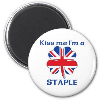Personalized British Kiss Me I'm Staple 6 Cm Round Magnet