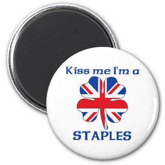 Personalized British Kiss Me I'm Staples 6 Cm Round Magnet
