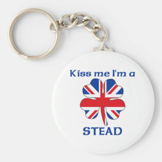 Personalized British Kiss Me I'm Stead Basic Round Button Key Ring