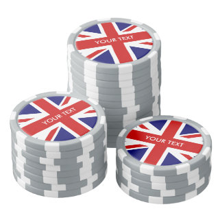 Personalized British Union Jack flag poker chips