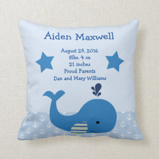 Personalized Brody Whale Nautical Pillow