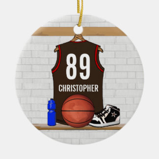 Personalized Brown and Red Basketball Jersey Christmas Ornament