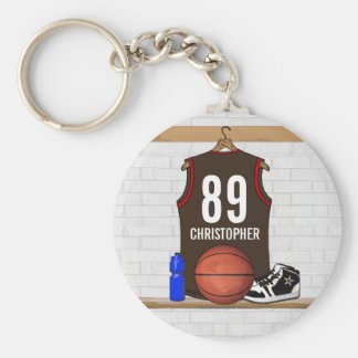Personalized Brown and Red Basketball Jersey Basic Round Button Key Ring