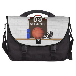 Personalized Brown and Red Basketball Jersey Computer Bag