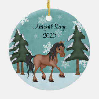Personalized Brown Bay Horse with Snow Christmas Round Ceramic Decoration