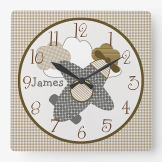 Personalized Brown Gingham Airplane Nursery Clock