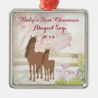 Personalized Brown Horses Baby's 1st Christmas Christmas Ornament