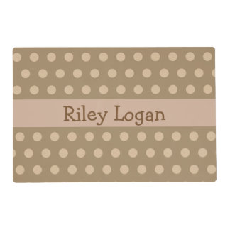 Personalized Brown Polka Dot Laminated Place Mat