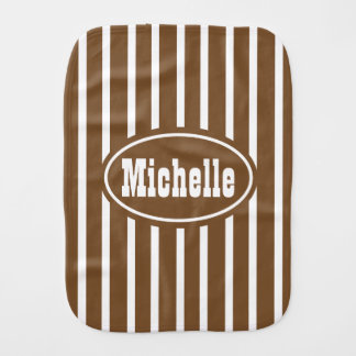 Personalized Brown V Stripe Western Baby Burp Cloth