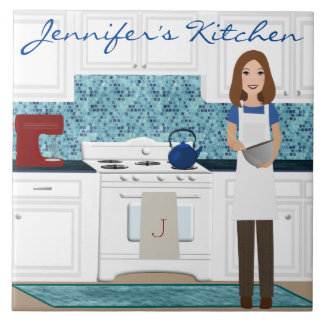 Personalized Brunette Cook Tile