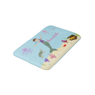Personalized Brunette Mermaid and Ocean Friends Bath Mat
