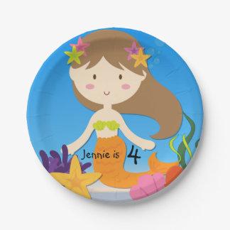 Personalized Brunette Mermaid Birthday Paper Plate