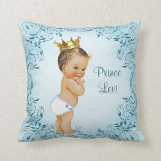 Personalized Brunette Prince Blue Leaves Cushion