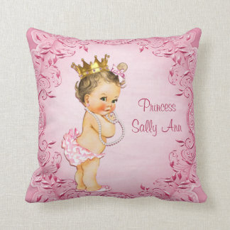 Personalized Brunette Princess Glamorous Pink Cushion