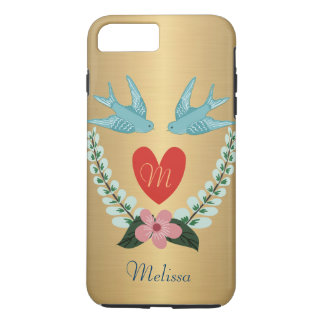 Personalized Brushed Gold Effect Blue Birds Heart iPhone 8 Plus/7 Plus Case