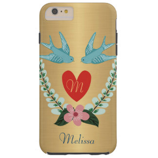 Personalized Brushed Gold Effect Blue Birds Heart Tough iPhone 6 Plus Case