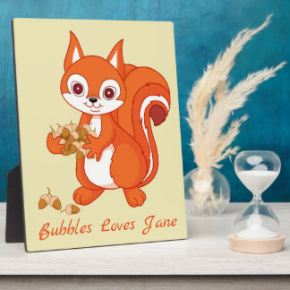 Personalized Bubbles the Helpful Squirrel Plaque