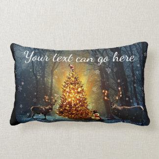 Personalized Bucks and Trees Christmas Lumbar Cushion