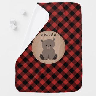 Personalized Buffalo Plaid Bear Cub Baby Blanket