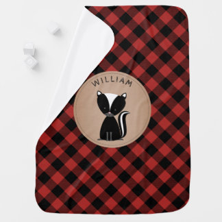 Personalized Buffalo Plaid Skunk Blanket Receiving Blankets