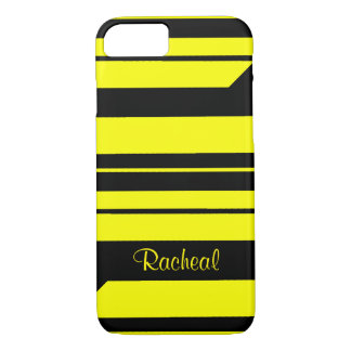 Personalized bumble bee stripes iPhone 7 case