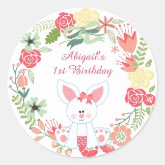 Personalized Bunny and Flower Wreath 1st Birthday Round Sticker