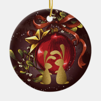 Personalized Bunny Couple n' Mistletoe Christmas Christmas Ornament