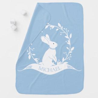 Personalized Bunny Rabbit Boy Receiving Blanket