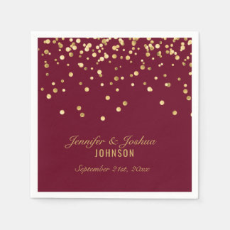 Personalized BURGUNDY Red Gold Confetti Wedding Paper Serviettes