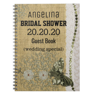 Personalized Burlap and Lace Image Bridal Shower Spiral Notebook