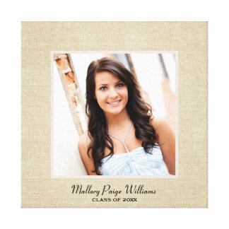 Personalized Burlap Canvas | Photo of Graduate