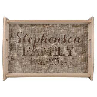 Personalized Burlap-Look Rustic Family Keepsake Serving Tray